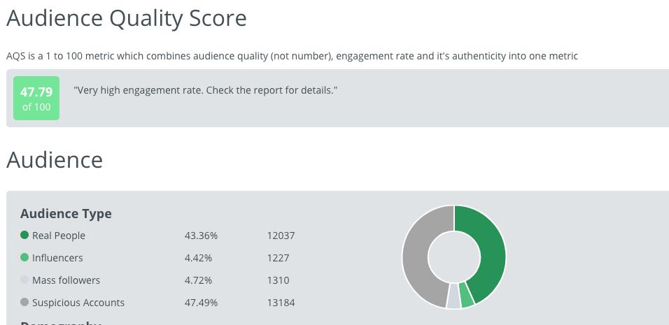 Data som visar vilka följare som är riktiga och inte på ett instagramkonto